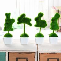 weiße pflanze für hausdekoration großhandel-Liebes-Kaninchen-künstliche Tabelle gemeißelte Topiary-Anlage stellte mit weißen Plastiktöpfen - dekorative Hochzeits-Hauptdekoration ein