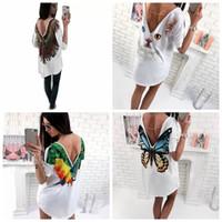 t-shirt frauen öffnen sich zurück großhandel-Frauen-T-Shirts drucken reizvolle beiläufige geöffnete hintere tiefe V-T-Shirts Kurzhülse Sommerkurzhülse Schmetterlingsdruckfrau LJJG21