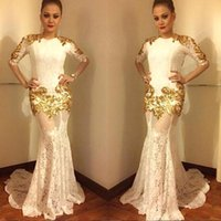 Wholesale maternity dresses for prom resale online - 2018 Gold Lace Half Sleeves Evening Dresses Jewel Mermaid Sheer Skirts Custom Made Prom Gowns For Celebrity Dress Red Carpet Wear BA7656