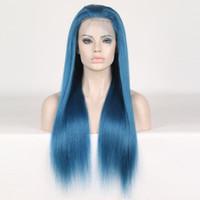 uzun dantel peruklar toptan satış-Tam Dantel İnsan Saç Peruk Mavi Renkli Peruk Kadın için Ön Koparıp Bebek Saç Ile Brezilyalı Remy Saç Peruk Uzunluğu 10 - 24 inç