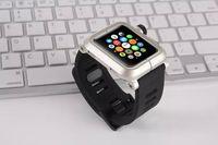 наручные часы купить оптовых-Бренд ремешок для часов для Apple, часы iWatch ремешок для часов черный резиновый силиконовый классический ремешок с пряжкой ремешок для часов металлический алюминиевый корпус 42мм