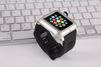 Brand Watch band For Apple watch iWatch Watch band black Rubber Silicone classic buckle strap watchband Metal Aluminum case cover 42mm