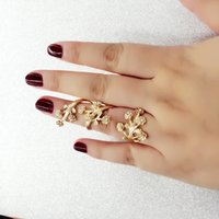 Wholesale flower plant spring resale online - Fashion Style Retro Flowers Beaded Rhinestone Ladies Gold Silver Ring Finger Nail Rings Bridal Jewelry Cheap Bridal Jewelry