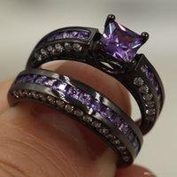 ingrosso anelli di taglio di principessa nera diamante-Vendita all'ingrosso Prezioso gioiello con diamanti simulati principessa taglio CZ 10KT Anello con fedi nuziali color oro nero per le donne Taglia 5-10