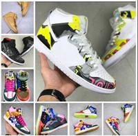 zapatos de baloncesto de las mujeres de buena calidad al por mayor-Buena calidad para Dunk SB High X Thomas Campbell Lo que los zapatos de baloncesto Doernbecher multicolor Graffitti para hombre mujer zapatillas deportivas 36-45