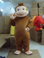 personagens traje venda por atacado-Curioso George Mascot Costume Macaco Festa de Aniversário Personagem Fancy Dress Desempenho Terno Adulto
