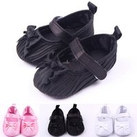 Wholesale slip sneakers wholesaler online - Fashion newborn baby girls crib shoes soft sole pram prewalker anti slip sneakers cute newborn baby girl bow ruffled shoes