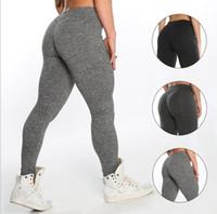 Wholesale black yoga pants for sale - solid color yoga pants leggings Women Sports Gym Yoga Running Fitness Leggings Pants Athletic Trouser color LJJK939