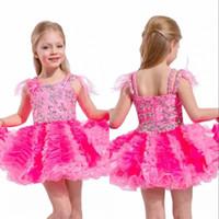 robes de fillette à plumes achat en gros de-Robes courtes Pageant pour les filles avec les plumes sur les épaules et les jupes des filles