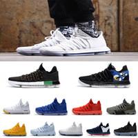 Wholesale kevin durant shoes colors - Cheap Sale 2018 All Colors Kevin Durant 10 PE BHM Black White Ten Basketball Shoes for Men's KD X 10s Elite Blue Orange Sport Sneakers 40-46