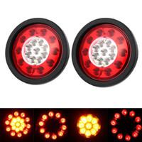 задние фонари грузовиков оптовых-1 Pair 19 LEDs Car Rear Tail Lights Stop Brake Taillight Round Rubber Ring Lamp for Truck Trailer Vehicles 12V/24V HEHEMM