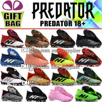Wholesale toe heel socks - 2018 Original Football Shoes Leather Outdoor Mens Predator 18 FG Football Boots Black Blue Red Green Socks Predator 18.1 Soccer Shoes Cleats
