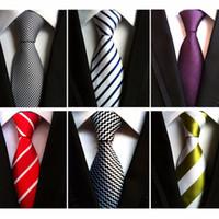 gravata listrada branca amarela venda por atacado-RBOCOTT 8 cm Moda Branco Preto Laços Roxo Listrado Gravata Amarela Gravata de Casamento Vermelho Gravata Para Homens Formal Terno de Negócios