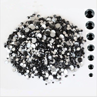 siyah elmas taklaları flatback toptan satış-1440 Adet / paket SS3-SS12 Cam Kristal Siyah Olmayan Düzeltme Flatback Rhinestones Tırnak Çivi 3D Tırnak Sanat Dekorasyon Için Rhinestones Taşlar