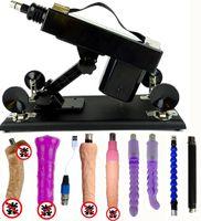 пистолет для мастурбации женский оптовых-Автоматическая секс-машина многоскоростной регулируемый толчок с 6 фаллоимитатор выдвижной пистолет женская мастурбация насосный пистолет для женщин,