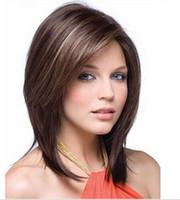 perucas douradas escuras venda por atacado-USJF950 popular curto marrom escuro mix dourado mulheres loiras perucas de cabelo das mulheres peruca