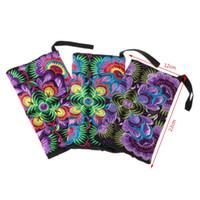 кошелек этнического кошелька оптовых-Women Girl Embroidered Wristlet Wallet Coin Purse Bag Ethnic Embroidery Handbag Presents Small Purse