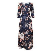 Wholesale russian women sale - New Brand Women Long Dress Hot Sale Spring Summer Russian Style Print Dresses Long Floor-Length Elegant Vestidos