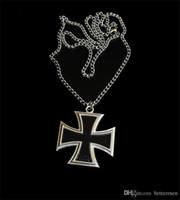 cadena de cruz de hierro al por mayor-ww2 wwii placa de medalla de cruz de hierro alemán con cadena de metal collar de aleaciones de doble cara Alemania Recuerdos