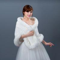 weiße pelzschals großhandel-2019 neue lange Fox Kunstpelz weiße Braut Wraps Winter Günstige Schal Mantel Schal weibliche Party Hochzeit tragen Braut Zubehör