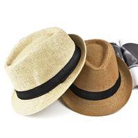 Wholesale braided belt women resale online - Men s Straw Jazz cap Casual Panama Sun Hats for Men Summer Fashion Beach Hat for Male Fedora Visor Caps for Belt decorated hat