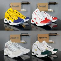 Wholesale mid cut boots men resale online - Top quality Reebok Question JET LIFE basketball shoes for men new mens high Hexalite cushion white red yellow breathable boots