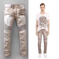 moda streç pantolon toptan satış-BALMAIN Erkek moda hafif streyç motorcu kot Erkek açık sarı bej cepler kargo pantolon uzun pantolon