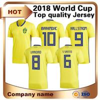 3d80470fb Tracksuit Sale Real Men S 2018 World Cup Sweden Home Jersey Soccer 9 Kallstrom  Shirt 10 Ibrahimovic National Team Short Football Uniform