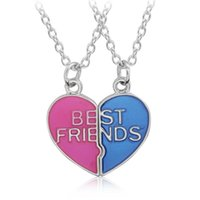 Wholesale Heart Shape Couple Necklace - Wholesale- Hot Sale Heart Shaped Pendant Necklace Couple Broken Heart Best Friends Necklaces Trendy Colorful Friendship Jewelry For Girls