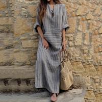 ingrosso vestiti di lino d'epoca-Plus Size Women Casual Dress Abiti estivi vintage solidi in cotone e lino Vestidos con tasche Maxi Dress