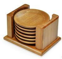artesanato manual venda por atacado-Carbonizado De Bambu xícara de chá pires isolamento térmico manual made art crafts Chinês xícara de chá mat 6 peças por conjunto