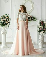 Wholesale two piece wedding dresses for sale - Hot Sell Two Pieces A Line Wedding Dresses Arabic Pink Bridal Gowns Sheer Lace Appliques Wedding Guest Reception Dress