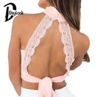 ingrosso pizzo rosa-Crop Top Sexy Deep V Backless Lace a pieghe cavezza Top 3 colori Lace Up Bow Knot Plunge collo alto Cute Pink Back DayLook
