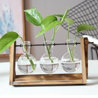 Wholesale Bamboo Plants Vase - Modern Plant Terrarium on Wood Stand Glass Vase Rustic Wood Metal Swivel Holder with Wooden Stand Glass for Home Decoration