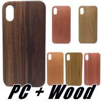 caso do iphone madeira de madeira venda por atacado-Real madeira case para iphone x xr xs max 8 7 6 6 s plus natureza madeira de bambu esculpida madeira + pc casos capa para samsung s9 s8 plus nota 8 s7 edge