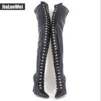 Wholesale Thigh High White Boots Women - Women Fetish Lace Up Thigh High Boots Flex Black Matt PU Heels Over The Knee Boot Plus size 45,46 colors 12cm Heel