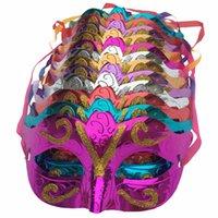 platos de fiesta de disfraces al por mayor-12 piezas / lote, oro brillante plateado fiesta de la boda apoyos de la boda de la mascarada máscara de carnaval mascaras venecianas para fiestas Fx196