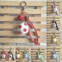 Wholesale tourism souvenirs - Free DHL 6 Colors Cute Bells Keychains Simulation Soccer Key Rings Key Holder Leather Rope Keyfob Tourism Souvenir Free DHL G738Q