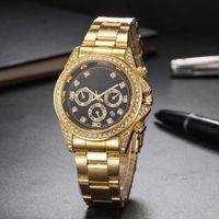 Wholesale fashion watch ice online - luxury watch mens watches diamond quartz iced out watch dayton R1018 fashion classic gold silver stainless steel designer brand Wristwatches