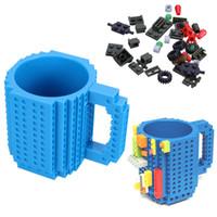 Wholesale Pink Coffee Mugs - 1pcs Build -On Brick Lego Mug Type Building Blocks Frozen Coffee Cup Diy Block Puzzle Lego Mug 12oz 350ml Valentine 'S Day Gif