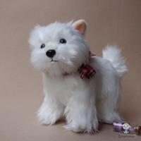 ingrosso bambola reale bianca-Bambole di peluche farcite Real Life Giocattoli per bambole West Highland White Terrier Bambini svegli regali di compleanno