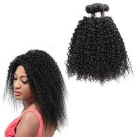 kaufen natürliches menschliches haar weben großhandel-Unverarbeitete Afro-Peruaner Curly Weave 8-30inch Haarverlängerungen Natürliche Schwarze Farbe Menschliches Haar Bundles