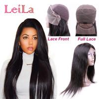 brezilya perukları doğal kısmı toptan satış-Brezilyalı Düz Saç Doğal Renk Dantel Ön Peruk Tam Dantel Peruk Ipek Düz Ucuz Bakire Saç Ücretsiz Bölüm
