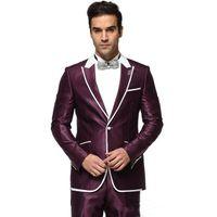 feiner lavendel großhandel-Günstige und feine hübsche Lavendel Peak Revers Hochzeit Bräutigam Smoking Männer Anzüge Hochzeit Prom Dinner Trauzeuge Blazer (Jacke + Krawatte + Gürtel + Hosen)