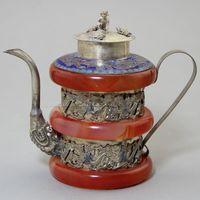 gold silber töpfe großhandel-Retro Tibet Silber Rot Jade Carving Double Dragon Wein Topf Alte Antike Handwerk Sammlung Ornament Garten Decor 53yx bb