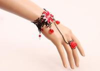 pulsera de encaje de diamantes al por mayor-Envío gratis estilo étnico Retro accesorios del tocado de las mujeres diamante rojo delicado encaje pulsera moda clásico delicado elegancia
