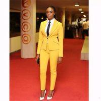 Wholesale Womens White Suit Blazer - Yellow Womens Pants Suit Peaked Lapel One Button Satin Formal Suits Custom Made Women Business Suits Blazer