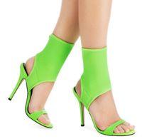 fluoreszierende stoffe großhandel-Sommer Fluorescent Green High Heels Sandalen Rom Stil Stretch Stoff Frauen Pumps Slingback Stiletto Heels Frauen Schuhe