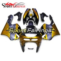 1997 kawasaki ninja zx9r fairings toptan satış-Kawasaki ZX-9R Yıl 1994 için Plastik Altın Siyah Fairings - 1997 Sıkıştırma Motosiklet Kaporta Yüksek Kalite Komple Hulls