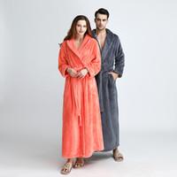 franela sexy al por mayor-XL Envío gratis Winter Flannel Sexy Women Robes más el tamaño de manga larga caliente larga Ropa de dormir Mujer Albornoz hombres ropa camisón